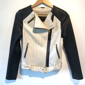 Mackage | part leather moto jacket with pockets